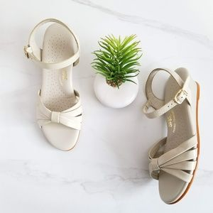 SAS Strippy Quarter Strap Wedge Sandals Patent